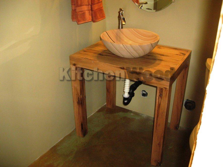 bathroom rustic natural oak wood vanity with wooden bowl sink and chrome metal single faucet inspiring diy vessel sink vanity for bathroom interior design 936x702 - Столешница из дерева в ванную