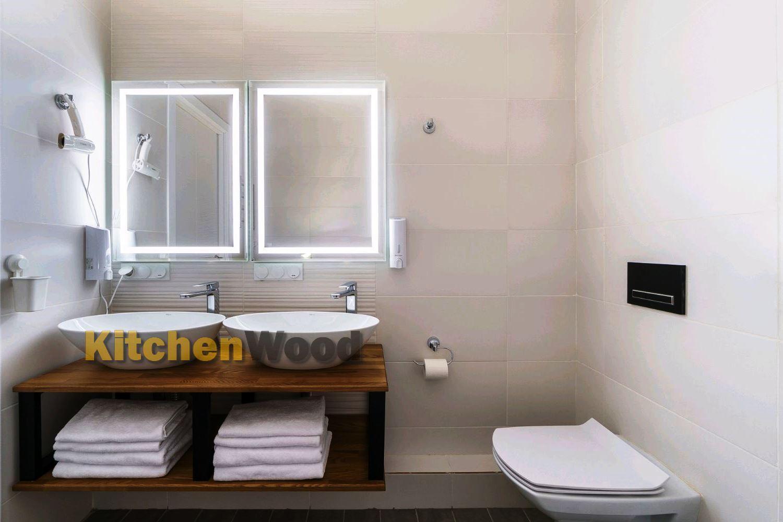 Столешница из дерева в ванную